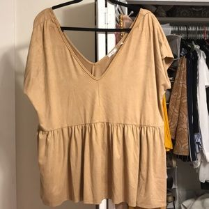 Kimchi Blue Urban Outfitters Suede Babydoll Top
